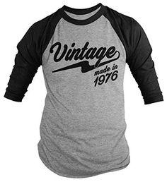 Shirts By Sarah Men's Vintage Made In 1976 40th Birthday Raglan Retro 3/4 Sleeve Shirts