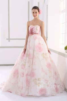Perfect A-line Sweetheart Natural Organza Sleeveless Lace Up-Corset Wedding Dress with Flower JUX015002