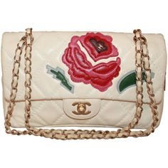 Preowned Chanel Ivory Quilted Leather Handbag With Pink & Red Camellia... (164.530 RUB) ❤ liked on Polyvore featuring bags, handbags, purses, chanel, chanel bag, white, red hand bags, ivory purse, handbag purse and white purse