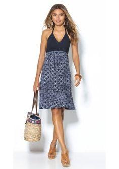 Šaty s ramínky kolem krku #ModinoCZ #navyblue #dress #šaty
