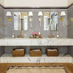 Magnificent #bathroom with our Darlmala #tiles ➕ Pic by @fernsantini #aitmanos #tilelove #tiledesign #zellige #home #handmande #morocco