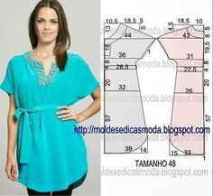 VESTIDO FÁCIL DE ~ Moldes Moda por Medida Thought this would look good as a dress with in seam pockets.Masters and clever men: Simple patterns of summer dresses № for sewing enthusiasts. Dress Sewing Patterns, Blouse Patterns, Sewing Patterns Free, Clothing Patterns, Diy Clothing, Sewing Clothes, Diy Fashion, Ideias Fashion, Diy Tops