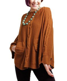 Take a look at this Cinnamon Cape-Sleeve Sweater by RICO LifeStyle on #zulily today!