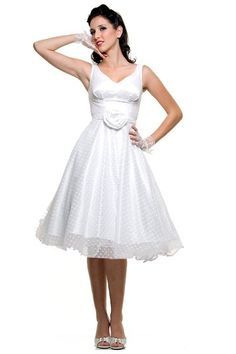 1950s Vintage V-Neck Satin Polka Dot Mesh Wedding Dress - https://blog.oncewedding.com/2016/01/09/1950s-vintage-v-neck-satin-polka-dot-mesh-wedding-dress/
