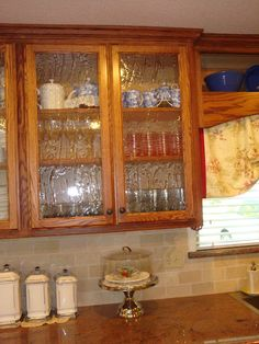 Here Is A Great Way To Update Plain Glass Fronts Of Kitchen Cabinets - Kitchen cabinet doors with glass fronts
