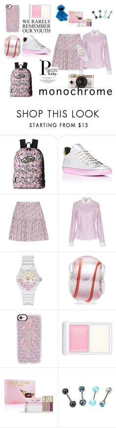 """Head-to-Toe Pink School Day #1"" by quinn-avina ❤ liked on Polyvore featuring Vans, MM6 Maison Margiela, Yves Saint Laurent, Peuterey, Casio, BillyTheTree, Casetify, RMK, Smith & Cult and Urban Outfitters"