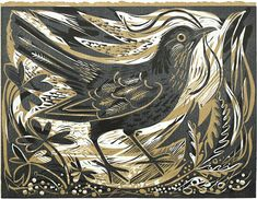 "Blackbirds Crows Ravens:  ""Ballindalloch #Blackbird,"" linocut for St. Jude's, by Mark Hearld."
