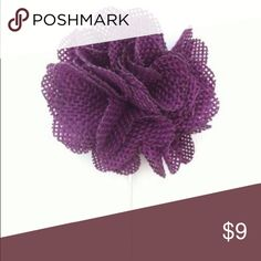 "Royal Purple Burlap Flower Lapel Pin Accessorize your suit with our Royal Purple Flower Lapel Pin. The flowers are roughly 1.5"" - 2"" wide. 3"" long. The Modern Gallant Accessories"