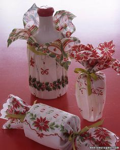 vintage linens for christmas gift wrap,  Gift wrapping design idea