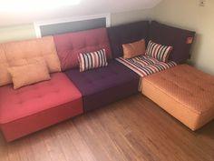 Armless modules (93 cm x 100 cm) & Corner (100 cm x 100 cm) plus footstool (93 cm x 93 cm).  We used Clarke & Clarke Highlander Marsala and Berry plus Warwick Fabrics Celine Spice.