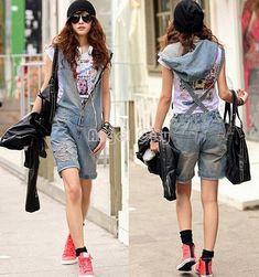 2017 Hole Denim Overalls Women's Jean Jumpsuits Short Pants Washed Jeans Denim Casual Rompers 4 Sizes - MISS LADIES