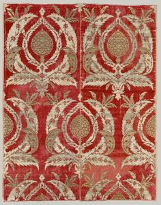 Rectangular Textile Fragment Object Name:Fragment Date:second half 16th century Geography:Attributed to Turkey, Bursa  Medium:Silk, metal wrapped thread; cut and voided velvet, brocaded