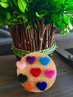 Fuzzy Colorful Heart Pushpins (set of 8), Cork board,Cubicle, Office, Wall hanging,  Calendar, Thumbtacks, stocking stuffers, puffy,