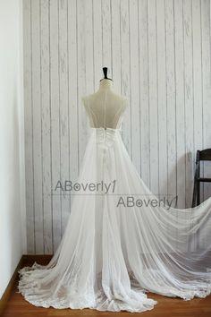 Beach Boho Lace Chiffon Backless Wedding Dress Bridal by ABoverly1