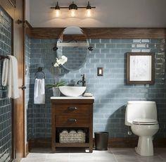 Rustikales und modernes Badezimmer-Blau-Grau-Glasfliesen Source by adriarush Rustic Bathroom Designs, Modern Farmhouse Bathroom, Design Bathroom, Bathroom Colours, Blue Bathroom Tiles, Tile Design, Gold Bathroom, Craftsman Bathroom, Bathroom Accents