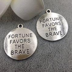 24mm Antique Silver Letters Charm Pendants Fortune Favors The Brave Charm Pendants MF1556