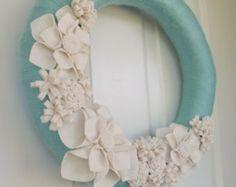 Aqua and White Felt Flower Wreath, Modern Yarn and Felt Wreath