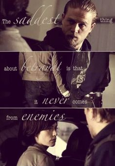 Sons Of Anarchy  Did she really betray him or did she just realize that she had to escape that life for the safety of her sons?   Tara and Jax