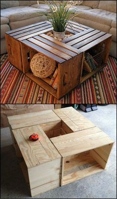 How To Build A Coffee Table From Crates http://theownerbuildernetwork.co/zwwj There's nothing like a solid coffee table with storage space. This one made from crates will let you store throw rugs, magazines, board games etc. tucked away but within arms reach.