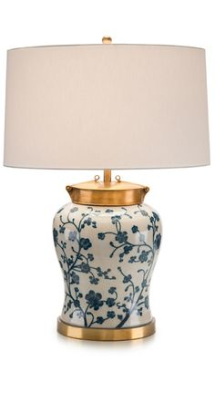 Ceramic blue and white lamp.