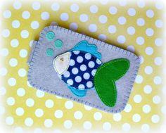 Iphone Case - Fish and Dots, Felt Case Phone Case