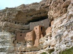 Montezuma Castle is an ancient Sinagua indian cliff dwelling near Sedona, Arizona ....
