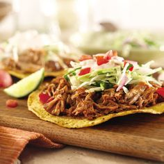 There's something fun about constructing your food as you go - and Slow Cooker Tacos are no exception. Serve by moving the slow cooker to the dining table, and eat!