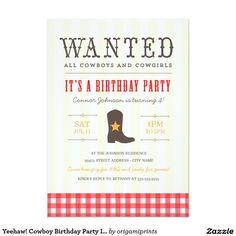 "Yeehaw! Cowboy Birthday Party Invitation 5"" X 7"" Invitation Card"