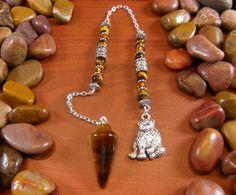 Tigers Eye Bear Pendulum by Starshine Beads on Etsy