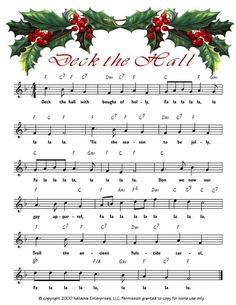 Deck the Hall link to printable Christmas sheet music