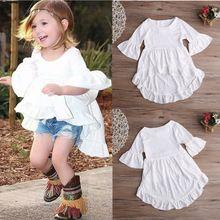 Branco Ruffled algodão roupas vestido Top blusa 1 pcs crianças crianças bebê meninas roupas muito elegante princesa roupas meninas novo alishoppbrasil