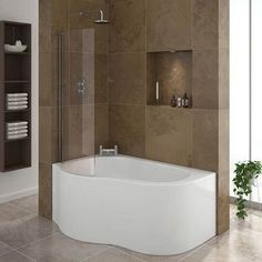 Estuary Corner Shower Bath - with Screen + Panel Feature Image Small Bathroom Ideas Uk, Bathroom Design Small, Bathroom Layout, Small Bathrooms, Bathroom Designs, Small Baths, Modern Bathrooms, Bathroom Wall, Shiplap Bathroom