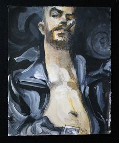 Cigar and Biker Jacket Bear acrylic and lithograph by kmencher, $48.00