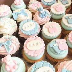 Baby shower cupcakes for a set of twins. by ronisugarcreations