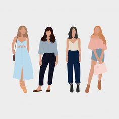 Set Of Young Fashion Women, Stylish Girls. People Illustration, Illustration Girl, Portrait Illustration, Illustrations, Friends Illustration, Cartoon Girl Images, Cartoon Girl Drawing, Flat Design, Design Plano