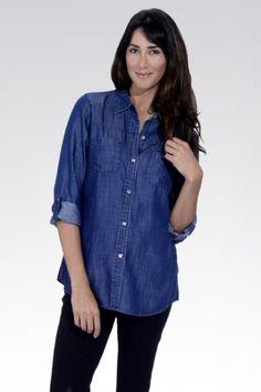 34e2242420109 Foxcroft Denim Tencel Shaped Long Sleeve Tunic