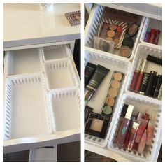 Walmart Makeup Storage Ideas for IKEA Alex Drawers. Walmart Storage Ideas for Ikea Alex Drawers. Walmart Makeup Storage Ideas for IKEA Alex Drawers - makeup storage with MainStays kitchen storage trays from Walmart fit perfectly in Alex drawers! Organisation Ikea, Alex Drawer Organization, Makeup Storage Organization, Ikea Storage, Storage Ideas, Bathroom Storage, Bathroom Organization, Storage Hacks, Storage Boxes