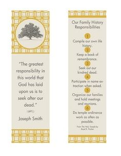Our Family History Responsibilities book mark printable