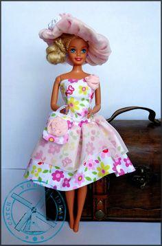 Barbie w pastelowym szyfonie ~ Catch Your Ideas | filc, druty, origami modułowe, szycie