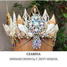 Iridescent Mermaid Crown, Festival Crown, Beach Bride Shell Crown ~ CZARINA  #mermaidcrown