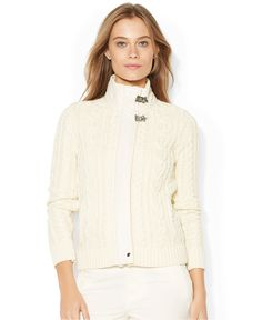 Lauren Ralph Lauren Hardware-Closure Cable-Knit Sweater - Lauren Ralph Lauren - Women - Macy's