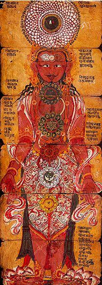 A brief description of the chakras on tantra-kundalini.com. Illustration: The chakras - Nepal, 17th century, gouache on paper.