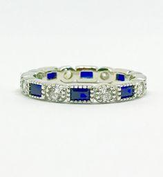 Art Deco Blue Sapphire & Russian Lab Diamond Milgrain Bezel Eternity Ring