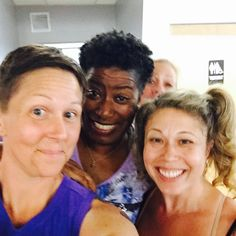 """Gettin #smiley #selfie with @carleaseburke Sue Gisser and @laurasmith63  This was after the """"YAY - Yes And...Yoga"""" #workshop with @namastaycurious & Megan Whyte Soule... Good times!"""