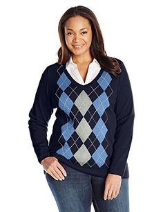 Women's Plus-Size Long-Sleeve Argyle V-Neck Sweater