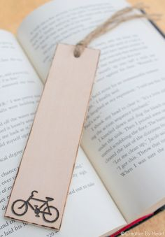 Wooden Bookmark Engraved - Bicycle