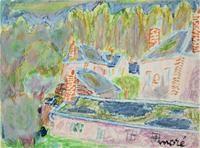 """Germaine MORE (1903), """"Paysage au matin à Droué"""", pastel et gouache sur papier, signé en bas à droite, 31.6 x 23.9 cm (Provenance : Fonds d'atelier Germaine Moré)"""