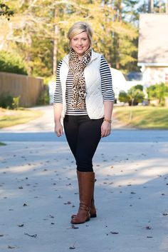 Savvy Southern Chic: There is a lot going on here, puffer vest outfit, riding boots outfit, black jeans outfit, stripes, womens fall outfit