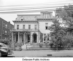 Joshua Heald's house at Delaware Avenue and Broom Street in 1941. Heald was president of the Wilmington City Railway Company, which in the 1860s built the trolley lines in Wilmington, including the line that ran down Delaware Avenue. The trolley lines created today's Forty Acres and Trolley Square neighborhoods. The house is still there, as is the brick apartment building next to it.