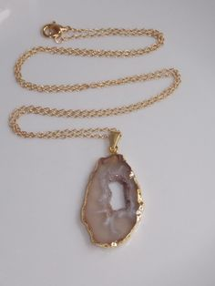 Geode Necklace on a Gold Filled Chain geode by MalieCreations